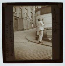 More details for 1900s magic lantern slide man posting bills trafalgar day scarborough yorkshire