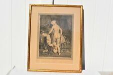 ORIGINAL ANTIQUE PRINT LE COUCHER (BED TIME)DEPICTING A FEMALE NUDE GOING TO BED