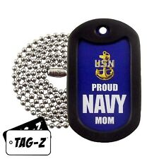 Military Dog Tag Necklace -  Proud U.S. Navy Mom Dog Tag with a Dog Tag Silencer