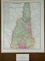 "NEW HAMPSHIRE 1901 Vintage State Atlas Map 11""x14"" ~ Old Antique WOODSVILLE"