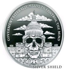1 oz silver Government Mind Control BU COA .999 Pure silver shield mini Presale