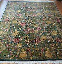 Super Fine Floral Wool Hand Knotted Green Garden India Oriental Rug  9' x 12'