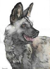 original drawing 15 x 20,5 cm 31SS art samovar watercolor hyena sketch Signed