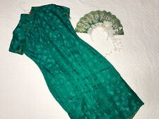 Chinese Cheongsam Qipao dress COSTUME size 12 green silk Headdress crown Asian