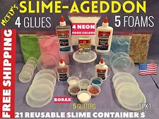 SLIMEAGEDDON  Slime Kit Bean Bag Filler Balls Foam Beads Slime Kit Elmers Glue
