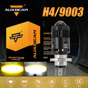 AUXBEAM H4 Motorcycle LED Headlight Bulb Conversion Kit White/Amber Hi-Low Beam