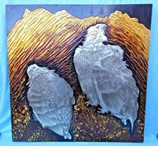 "HUGE MIXED MEDIA WORK OF ART ON WOODEN MOUNT SHOWING 3 SILVER EAGLES 40"" x  40"""