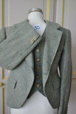 Childs  Green Herringbone Wool Tweed Argyll Kilt Jacket and waistcoat 32 in