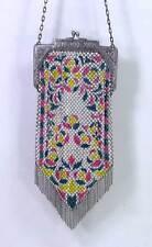 Antique 1920s Mandalian Flapper Enamel Mesh Fringe Purse Bag Floral