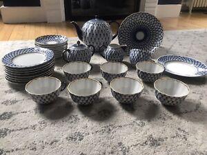 Authentic Russian Imperial Lomonosov Porcelain Cobalt Net Tea Set