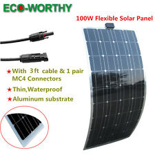 Fexible 100W PV Power Mono Solar Panel Charge 12V Battery Home Power Charge