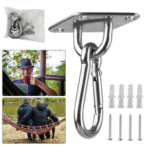 2PCS 360° Heavy Duty Hammock Hanging Hook Kit Stainless Ceiling Swing Chair Hook