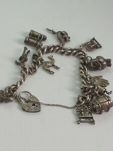 vintage sterling silver charm bracelet With charms Owl Mouse Etc