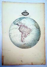 Amérique du Sud - Rarissime Grande Carte Sphéroïdale Garnier de 1860 - 43x61 cm
