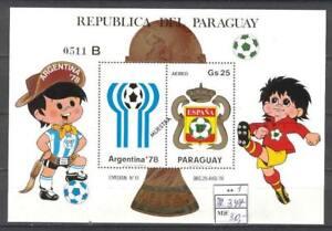 Soccer 1978 B83 MNH Paraguay Block Emblem WC'82 CV 30 eur