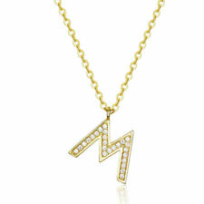 925 Sterling Silver The letter M Necklace Jewelry For Women Girls Adjustable
