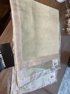 "Kim Seybert DipDye Napkin Mint Taupe Set Of 3 Napkins 21"" Large 100% Linen Green"