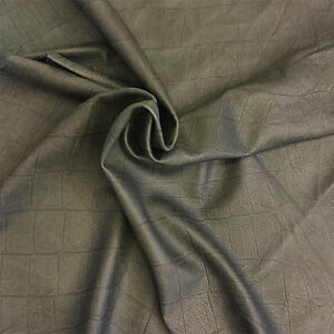 Green Suede Leather Hide Real Lambskin Crocodile Embossed DIY Craft Material 954