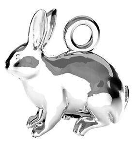 1 STERLING SILVER 925 RABBIT CHARM / PENDANT + INTEGRAL CLOSED LOOP, 11 MM