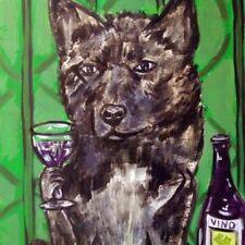 Akita dog Print on tile ceramic coaster wine art gift modern folk art 6x6