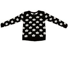 Girls Reversible Pullover Sweater Black And White Daisy Size M 10-12