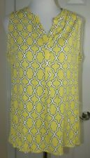 CROWN & IVY PEASANT V-Neck BLOUSE - NWT $50 LARGE - HI-LO Yellow Sleeveless TOP