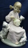 Lladro girl with Dalmation puppies SWEETIE made between 1974-1990