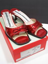 Warren Edwards Red Patent Leather Shoes Heart Open Toe Throbs Size 7 Womans Bow
