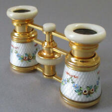 Vintage French OPERA GLASSES Gilt Brass MOP Guilloche Enamel SWAGS + BOWS w Case