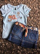 New With Tags Baby Gap Denim Skirt Short Sleeve Shirt Set Size 18-24 Mos