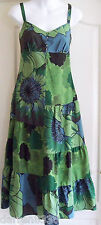 Nuevo ~ MONSOON ~ Algodón De Seda & Vestido 8 verde azul bordado con cuentas de noche/Boda
