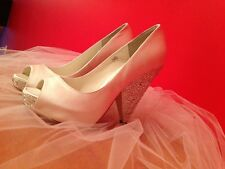 Beautiful Wedding Shoes in Ivory cone/wedge heels w/ Austrian crystals