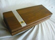 Vintage PACIFIC TELEPHONE WALNUT   WOOD CIGAR BOX PENCIL PEN BOX BELL RETRO
