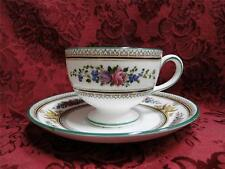 Wedgwood Columbia, White, Flowers, Medallion, Green Trim: Leigh Cup & Saucer Set