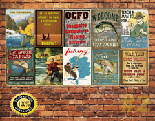 Job Lot 10 x METAL TIN SIGN WALL PLAQUE VINTAGE STYLE FISHING COLLECTION   #2
