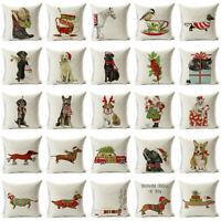 """18"""" Xmas Dog Cotton Linen Pillow Case Sofa Cushion Cover Throw Home Decor Sy"""