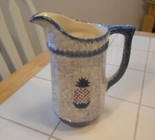 "b & b pottery spongeware pineapple pitcher vg++ 8 1/4"" tall"