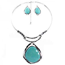 Silver Fever Gemstone Necklace Earring Set Turquoise BIB