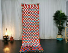 Moroccan Vintage Boujad Handmade RunnerRug  2'6x8'7 Checkered Blue Red White Rug