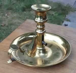 Antique Solid Brass Wee Willie Winkie Candlestick & Candle Snuffer