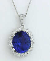 6.38 Carat Natural Tanzanite 14K White Gold Diamond Necklace