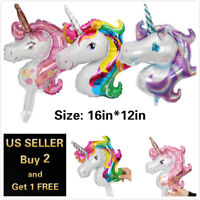 Magical Unicorn Head Birthday Party Tableware Decor Balloons Supplies Gifts