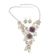 Bling Crystal Rose Flower Leaf Collar Necklace Earring Set(Gold) LW