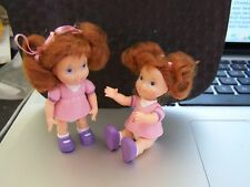 Pair of Tiny 3� Plastic Dolls Pink dress red auburn hair