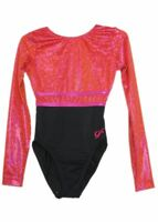 NWT GK Elite Gymnastics Long Sleeve Leotard Pink Black Adult Extra Small AXS