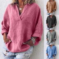 Damen Shirt Langarm Baumwolle Leinen Locker Bluse Tunika Lässig Oberteil T-shirt