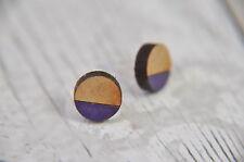 Geometric Wooden Lasercut Round Stud Earrings Dipped Purple