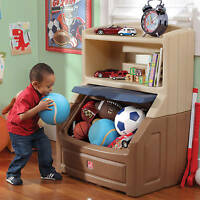 Kids Bookshelf Storage Boys Toy Chest Box W Plastic Brown Tan Play Room Bedroom