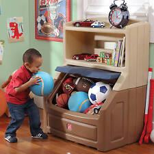Kids Bookshelf Storage Boys Toy Chest Box W Plastic Brown Tan Play Room Bedroom
