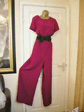 18 FEARNE COTTON JUMPSUIT RETRO 70'S BRIGHT MAGENTA WIDE LEG WEDDING PARTY